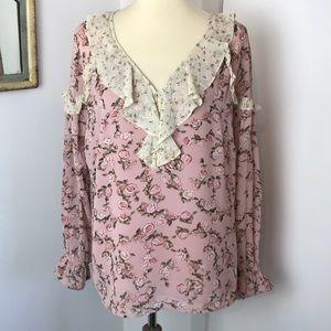 DR2 Romantic Pink Floral Ruffle Blouse XL